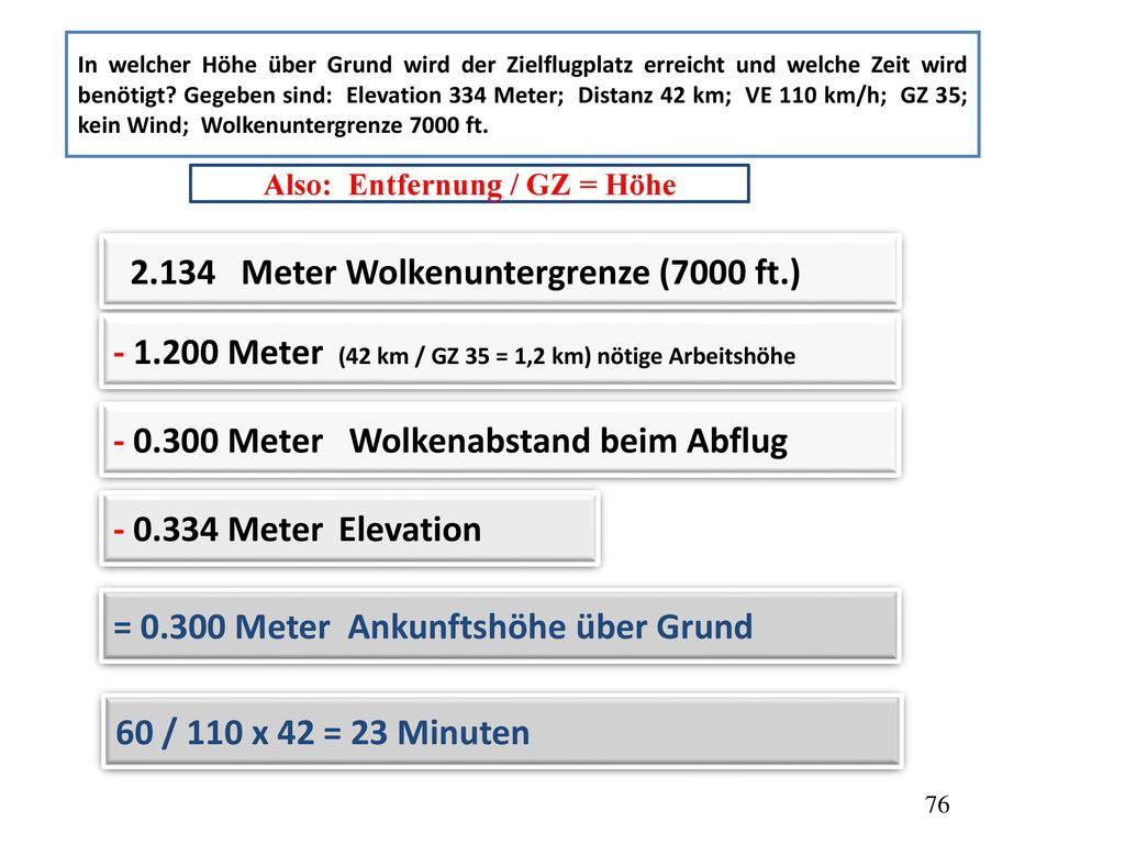 Also: Entfernung / GZ = Höhe