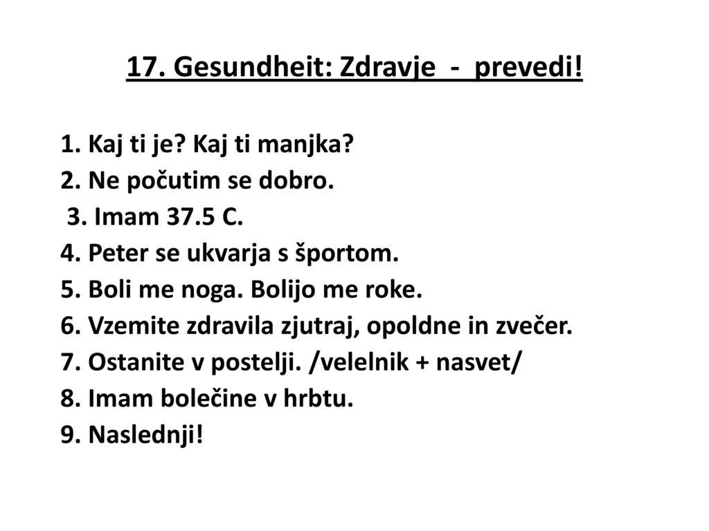17. Gesundheit: Zdravje - prevedi!
