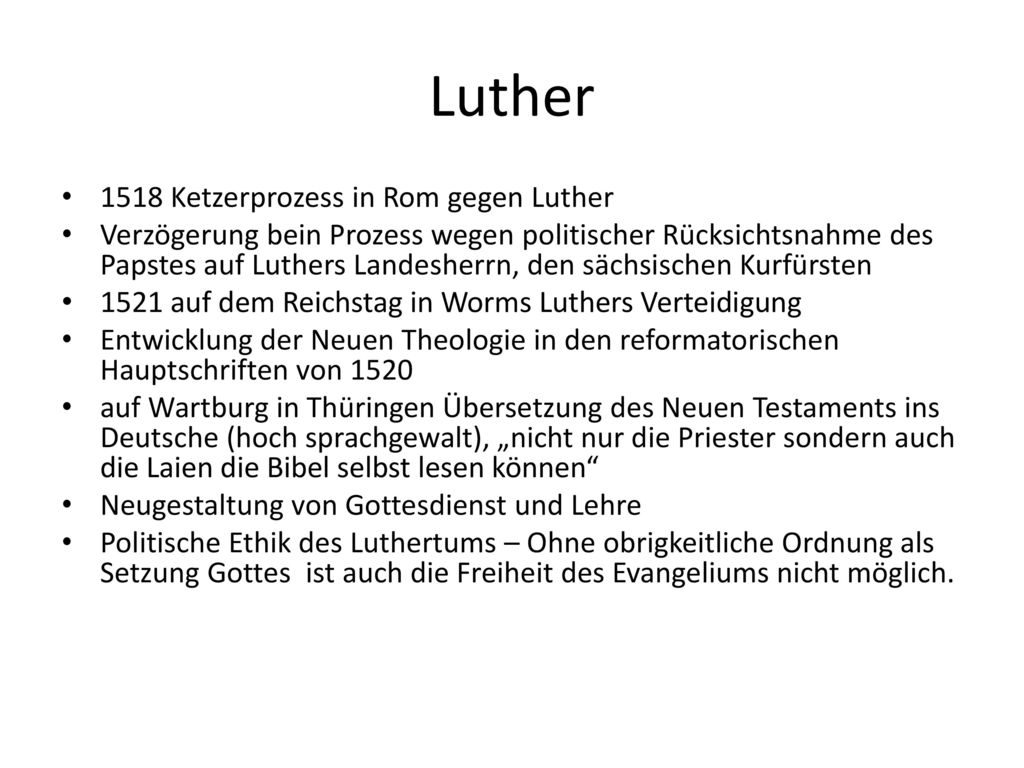 Luther 1518 Ketzerprozess in Rom gegen Luther