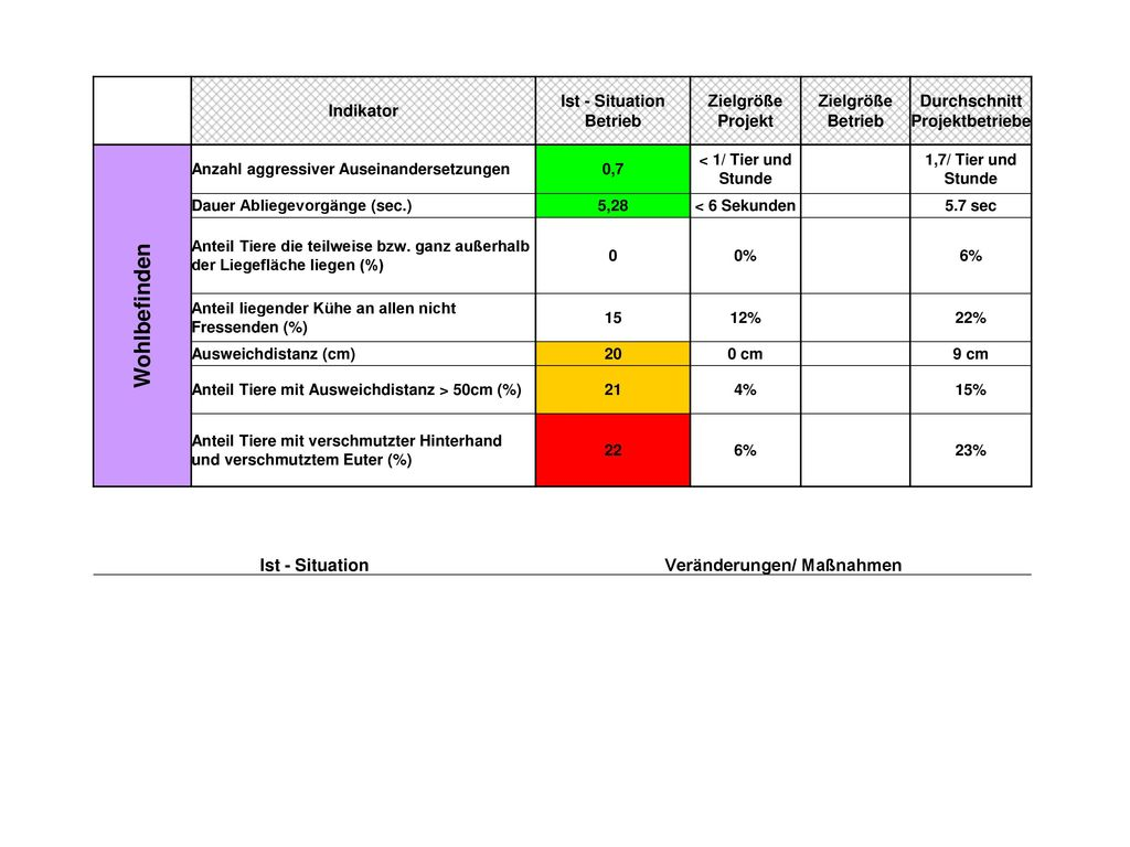 Wohlbefinden Ist - Situation Veränderungen/ Maßnahmen Indikator
