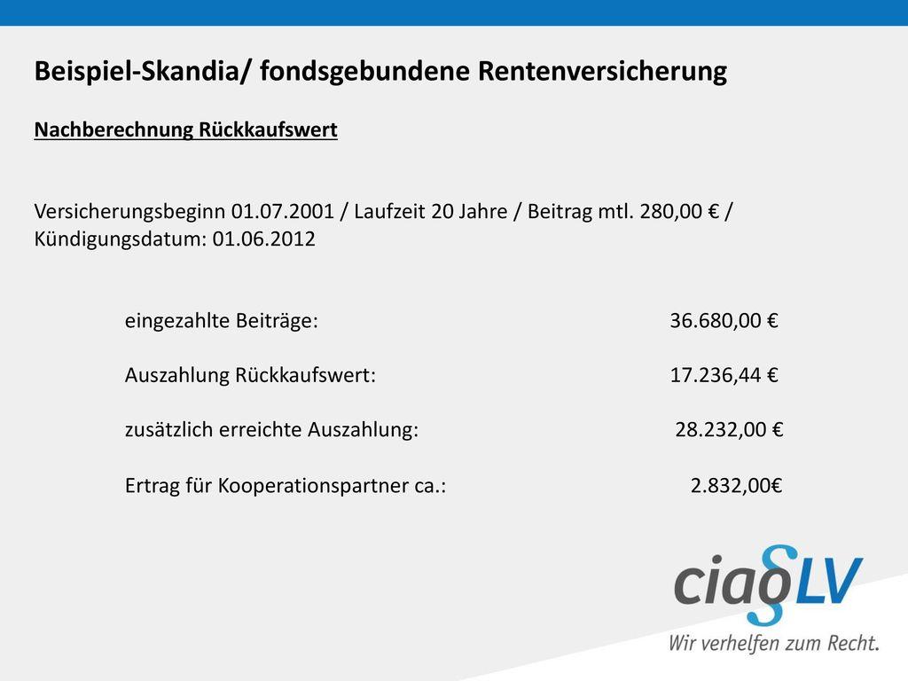Beispiel-Skandia/ fondsgebundene Rentenversicherung