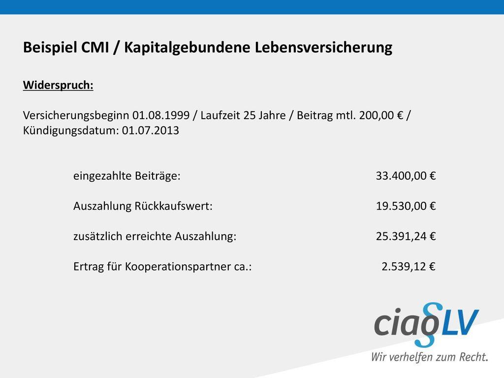 Beispiel CMI / Kapitalgebundene Lebensversicherung