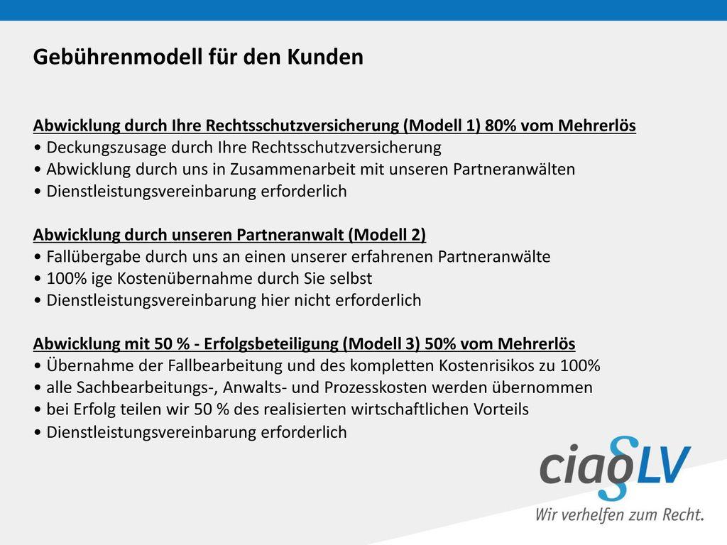 Gebührenmodell für den Kunden