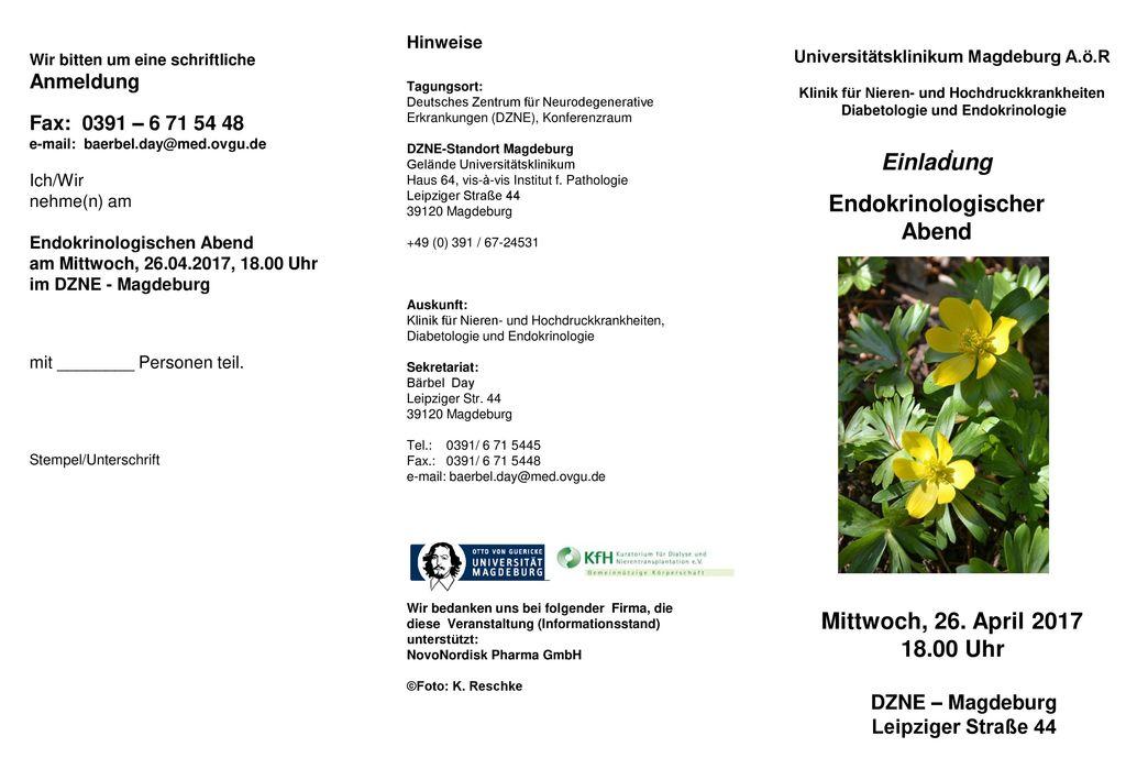 Einladung Endokrinologischer Abend Mittwoch, 26. April 2017