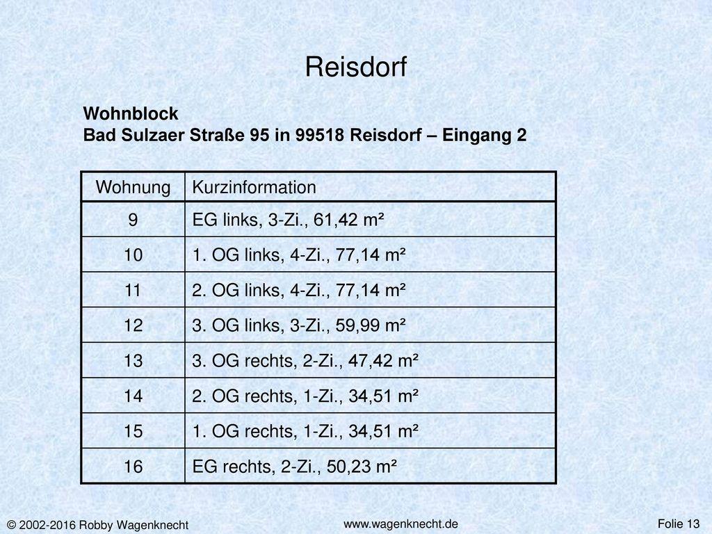 Reisdorf Wohnblock Bad Sulzaer Straße 95 in 99518 Reisdorf – Eingang 2