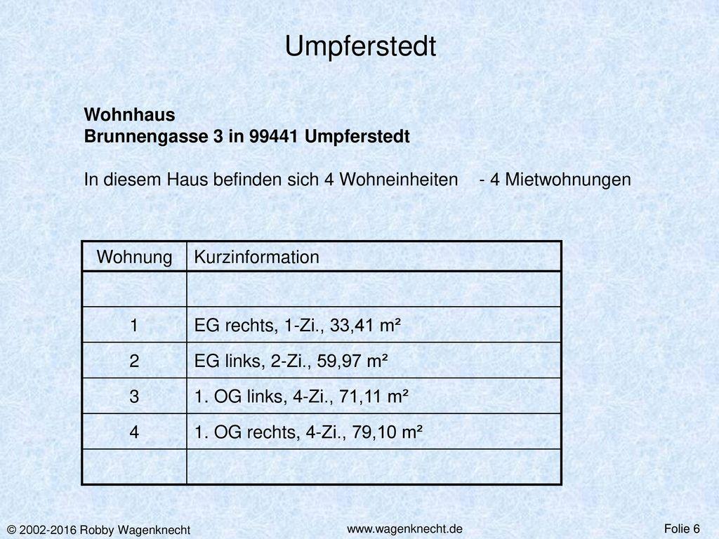 Umpferstedt Wohnhaus Brunnengasse 3 in 99441 Umpferstedt