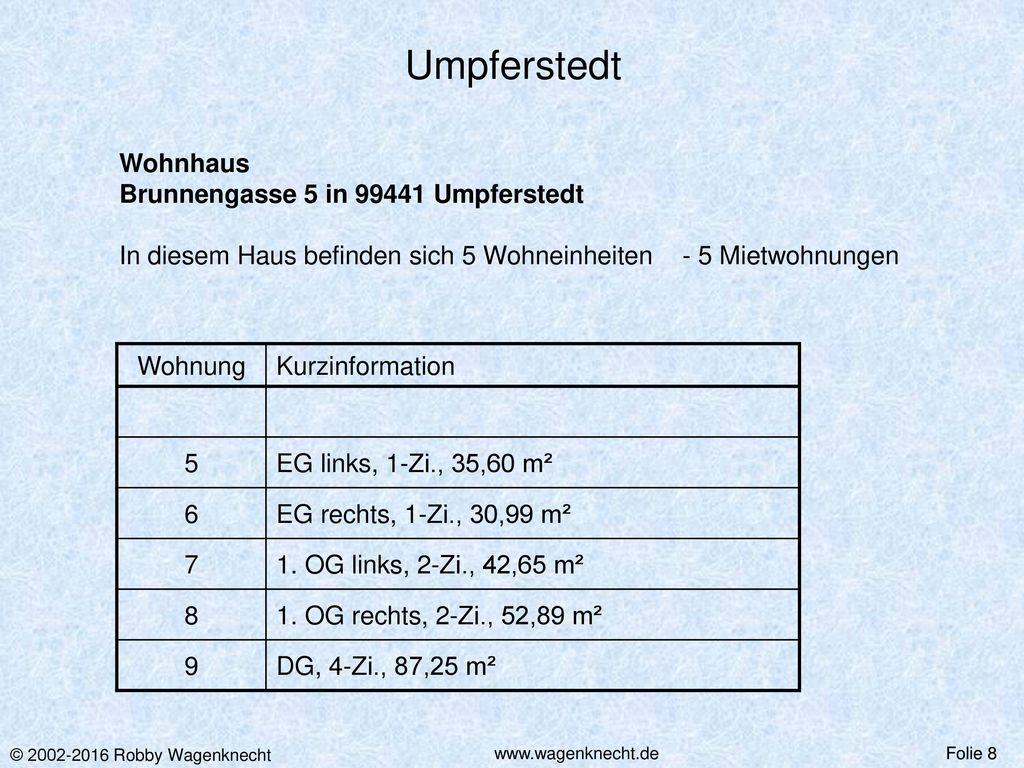 Umpferstedt Wohnhaus Brunnengasse 5 in 99441 Umpferstedt