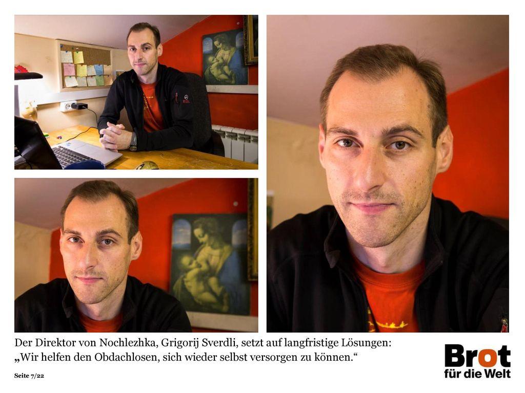 """Der Direktor von Nochlezhka, Grigorij Sverdli, setzt auf langfristige Lösungen: """"Wir helfen den Obdachlosen, sich wieder selbst versorgen zu können."""