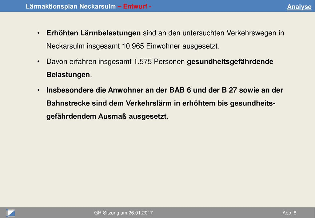 Analyse Erhöhten Lärmbelastungen sind an den untersuchten Verkehrswegen in Neckarsulm insgesamt 10.965 Einwohner ausgesetzt.