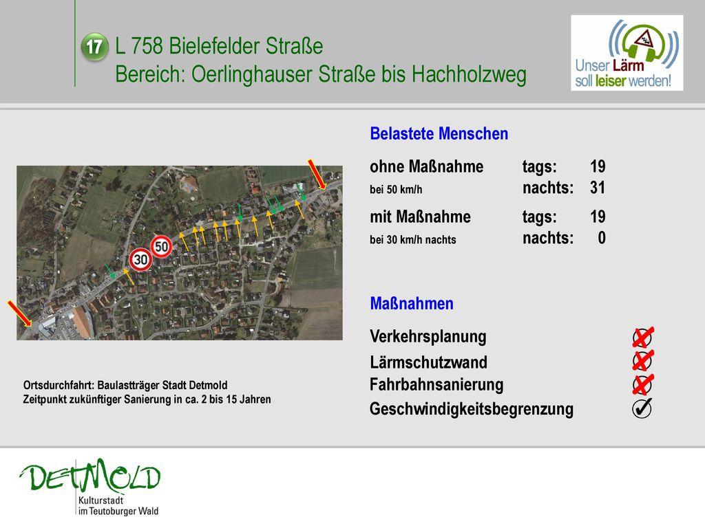 L 758 Bielefelder Straße Bereich: Oerlinghauser Straße bis Hachholzweg