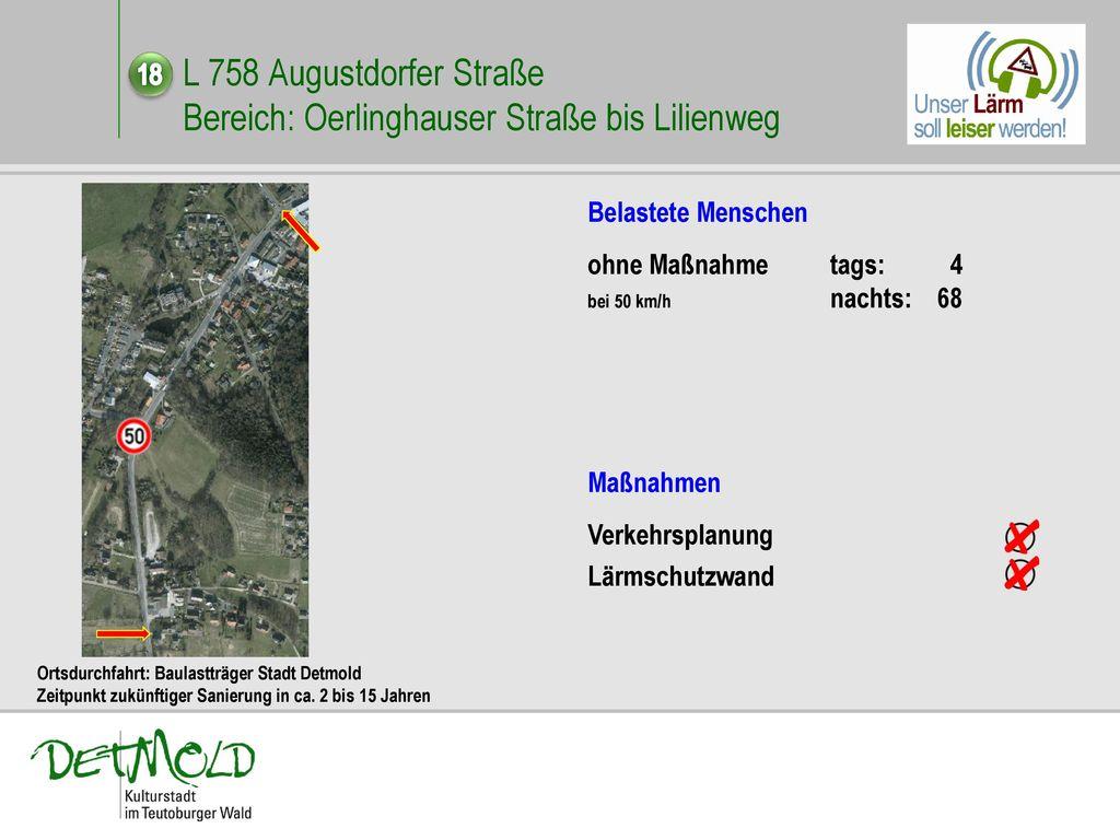 L 758 Augustdorfer Straße Bereich: Oerlinghauser Straße bis Lilienweg