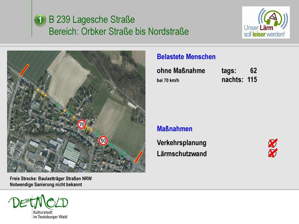 B 239 Lagesche Straße Bereich: Orbker Straße bis Nordstraße