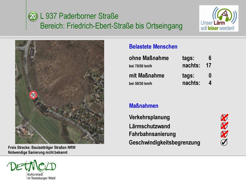 L 937 Paderborner Straße Bereich: Friedrich-Ebert-Straße bis Ortseingang