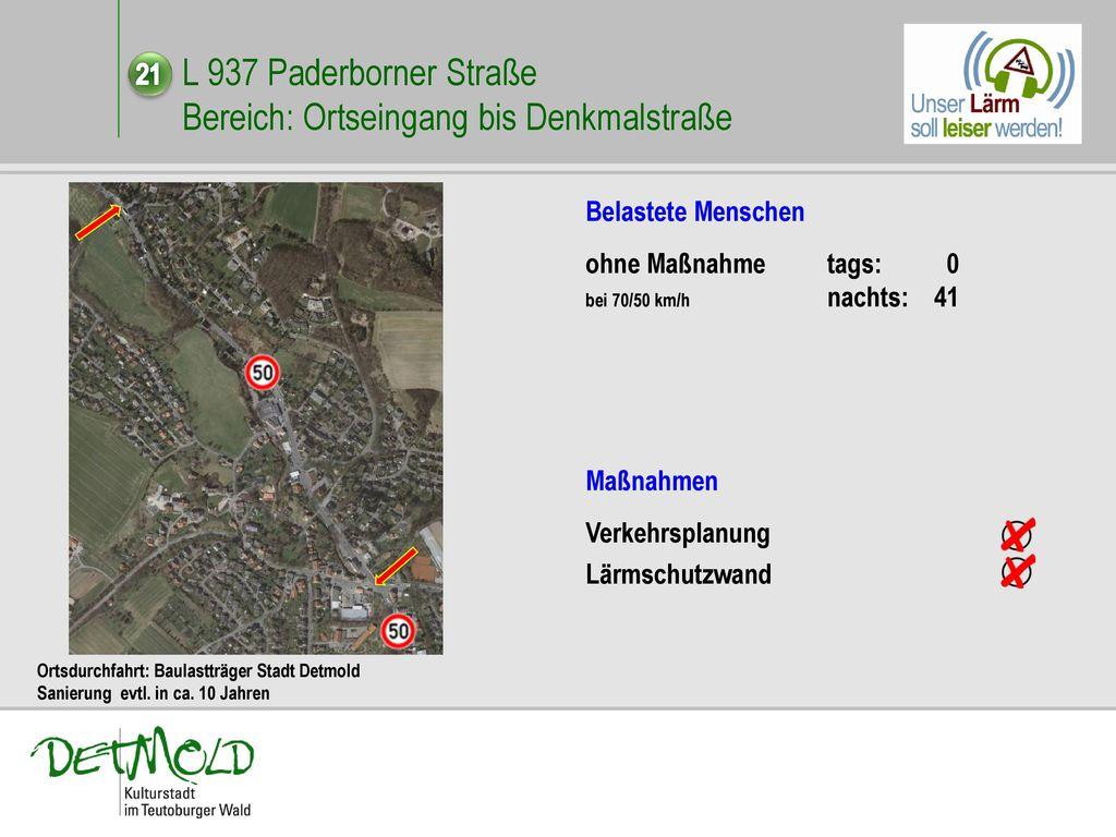L 937 Paderborner Straße Bereich: Ortseingang bis Denkmalstraße
