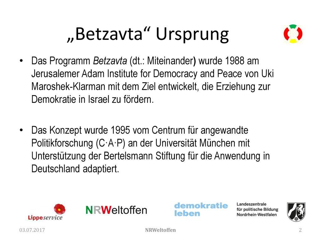 """""""Betzavta Ursprung"""