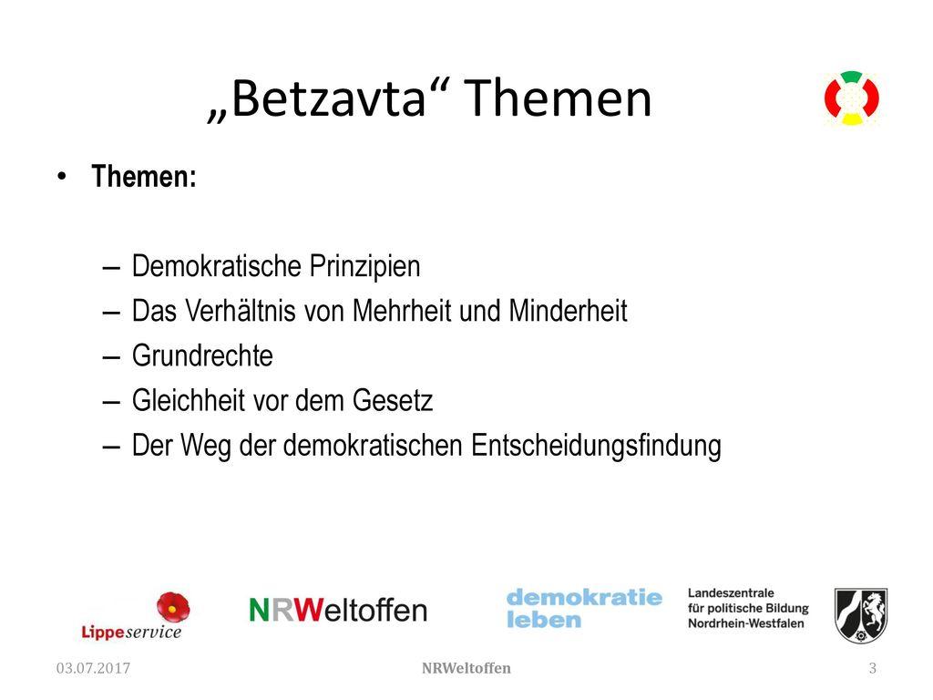 """Betzavta Themen Themen: Demokratische Prinzipien"