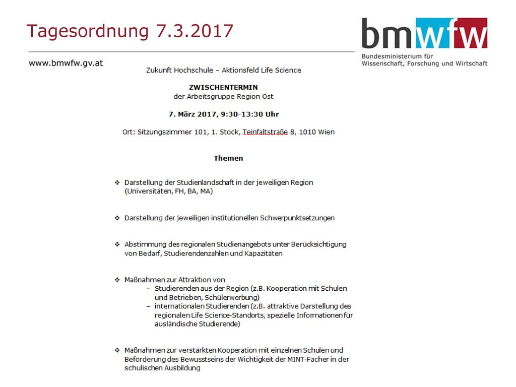 Tagesordnung 7.3.2017