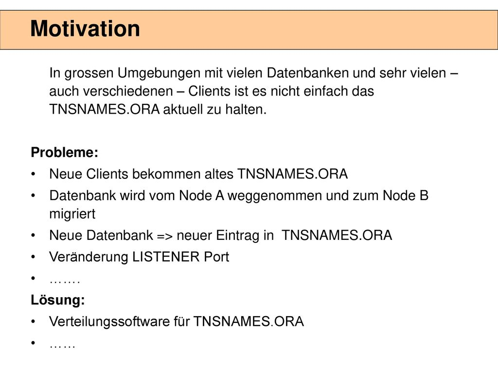 Agenda Motivation Oracle Lösungen für die Namensauflösung