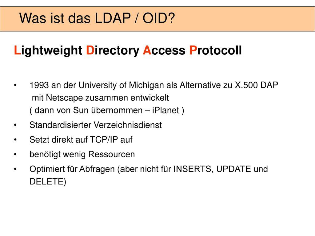 Directory Naming wird seit Oracle 8.1.6 unterstützt
