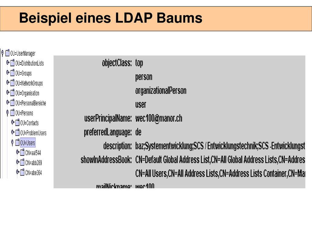 Aufbau eines LDAP Verzeichnisses