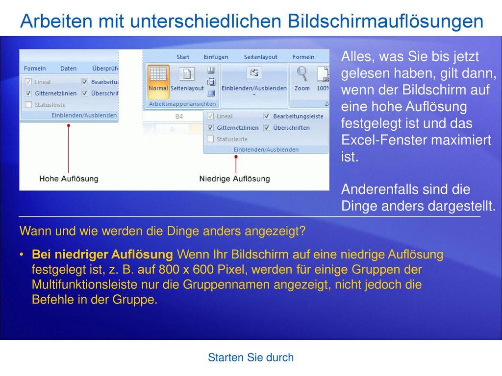 Arbeiten mit unterschiedlichen Bildschirmauflösungen