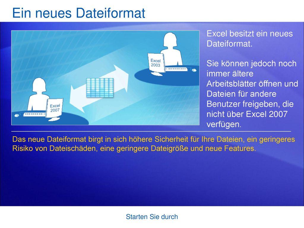 Ein neues Dateiformat Excel besitzt ein neues Dateiformat.