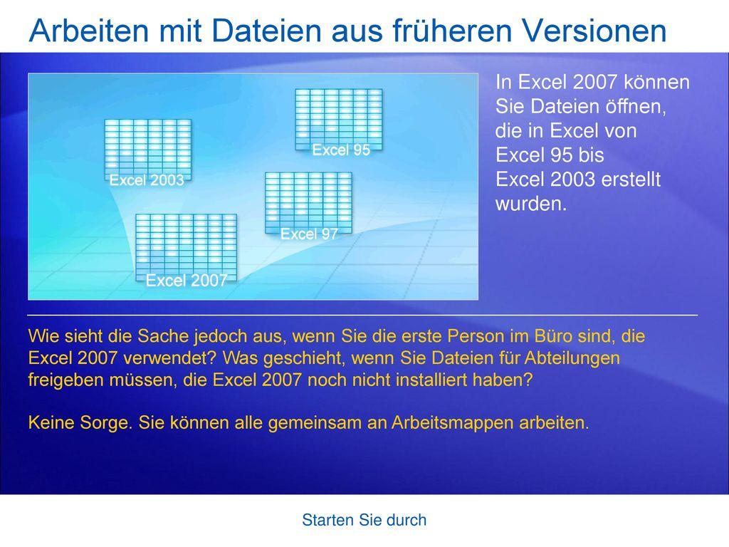 Arbeiten mit Dateien aus früheren Versionen