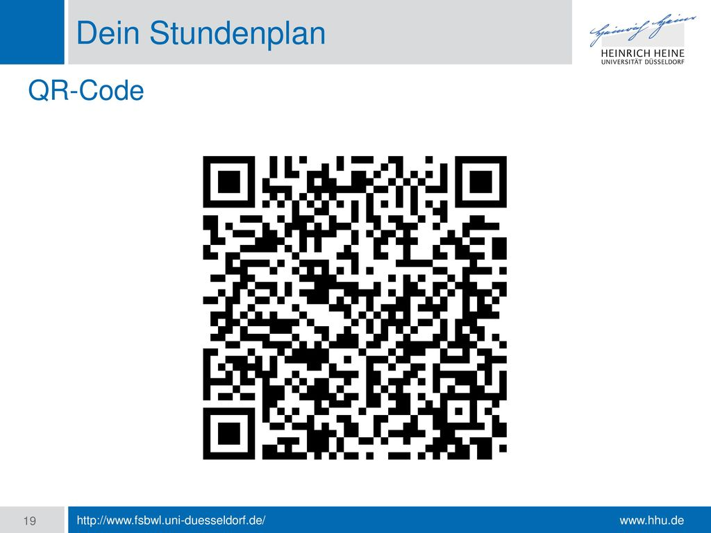 Dein Stundenplan QR-Code http://www.fsbwl.uni-duesseldorf.de/