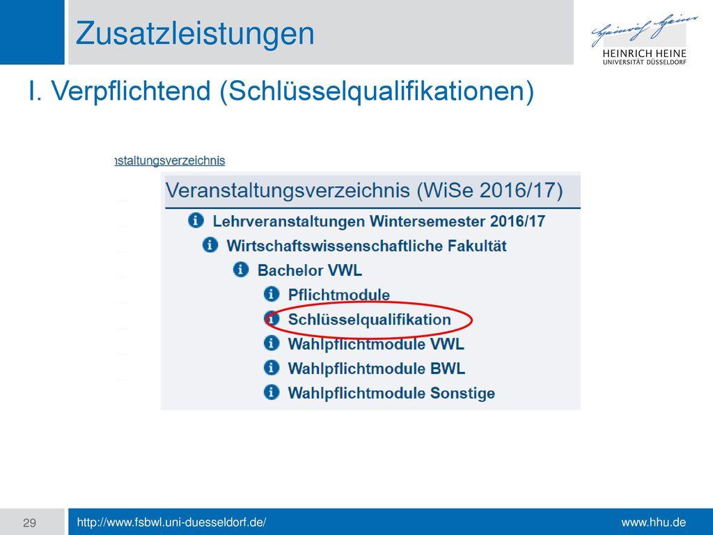 Zusatzleistungen I. Verpflichtend (Schlüsselqualifikationen)