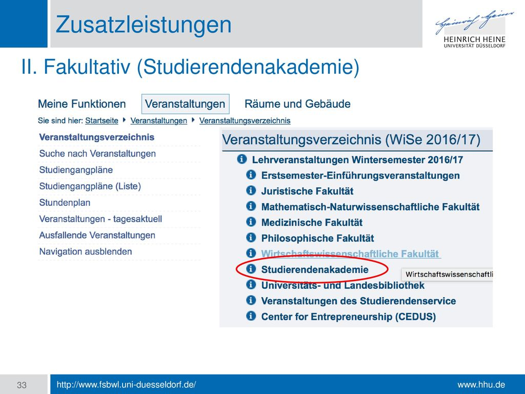 Zusatzleistungen II. Fakultativ (Studierendenakademie)