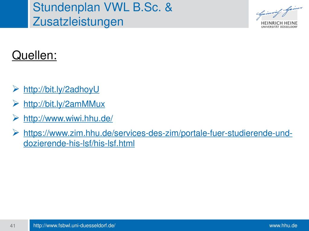 Stundenplan VWL B.Sc. & Zusatzleistungen
