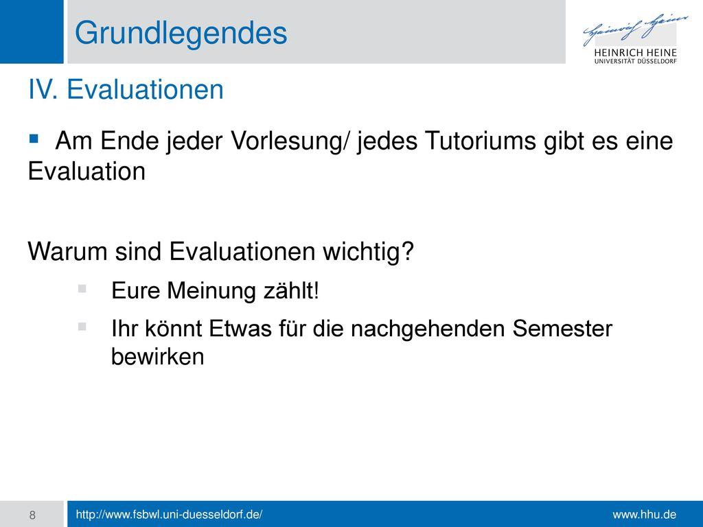 Grundlegendes IV. Evaluationen