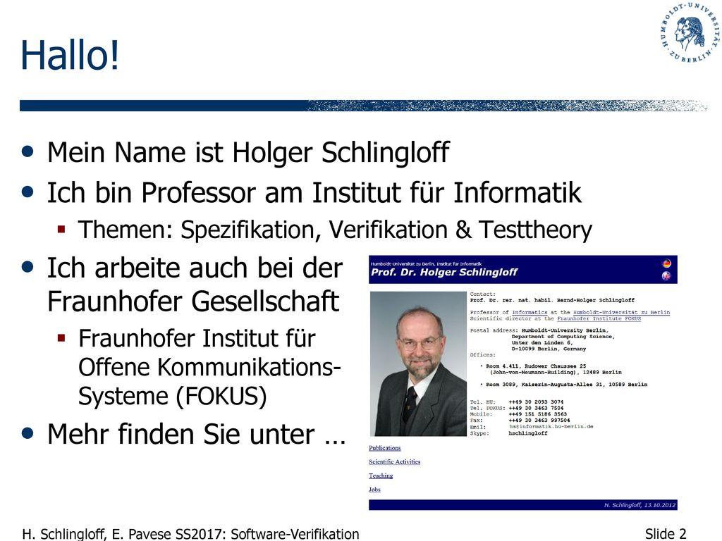 Hallo! Mein Name ist Holger Schlingloff