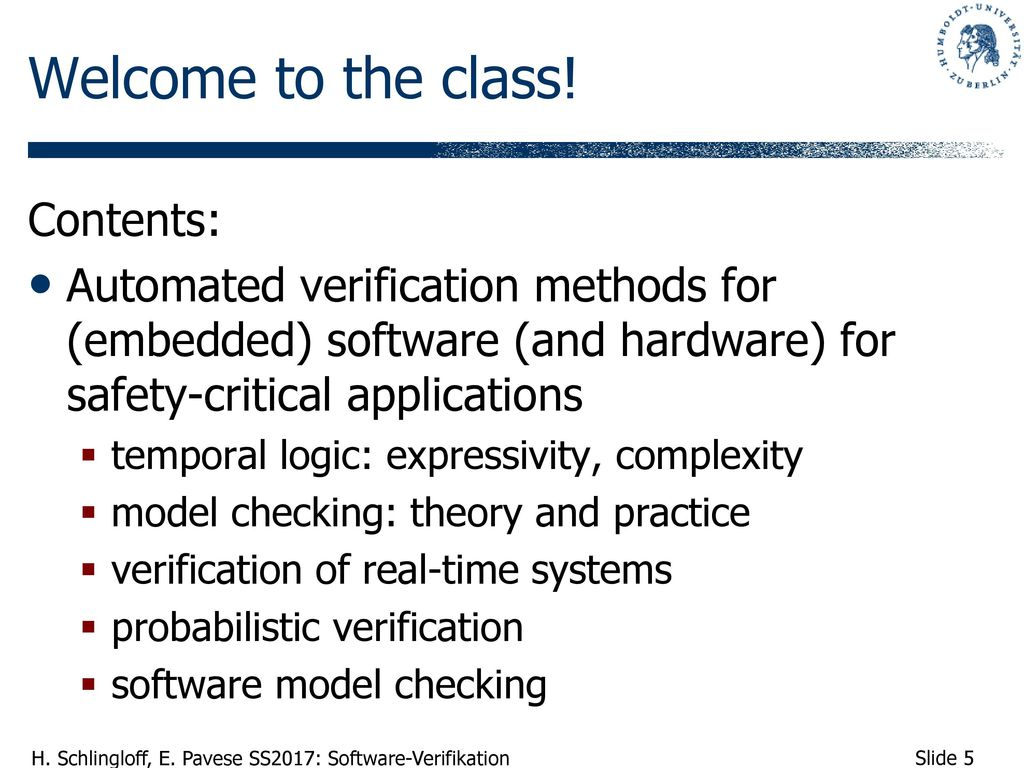 Welcome to the class! Contents: