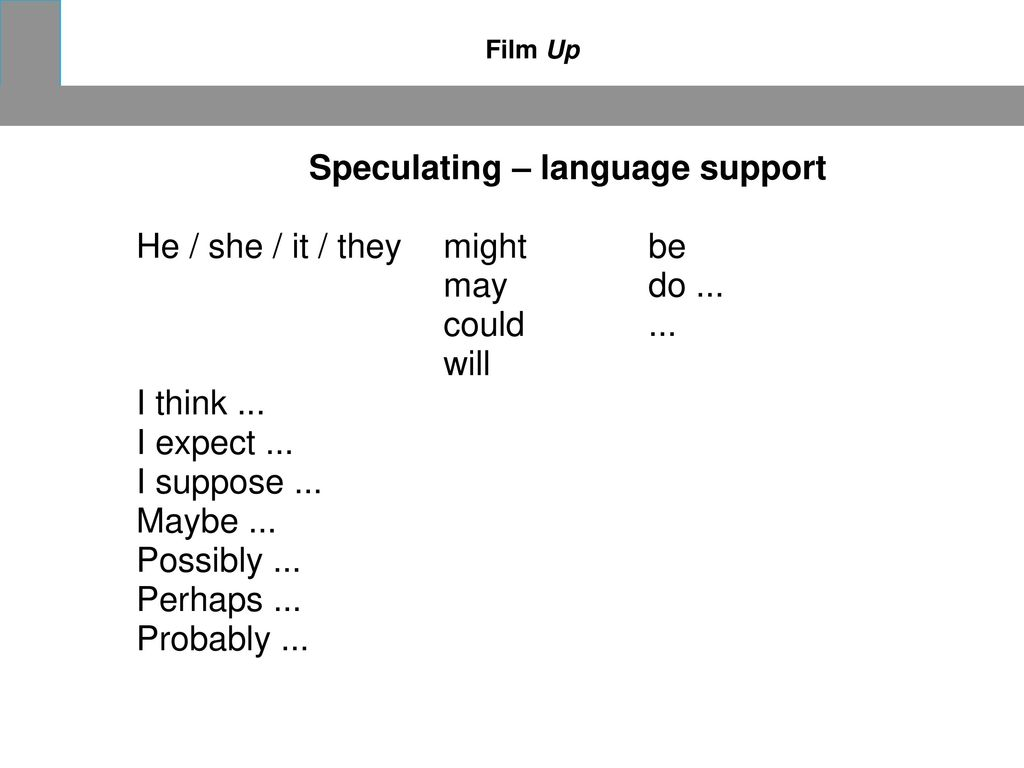 Speculating – language support