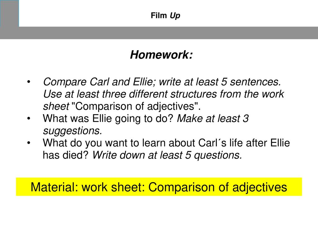 Material: work sheet: Comparison of adjectives