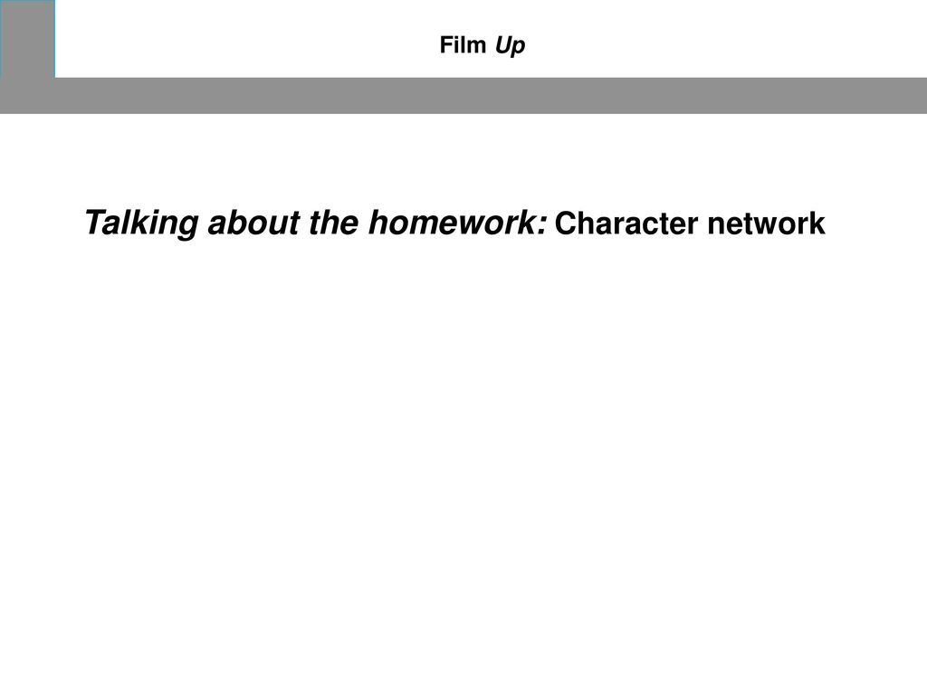 Talking about the homework: Character network