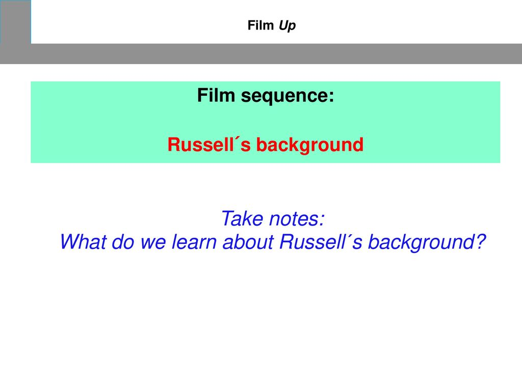 What do we learn about Russell´s background