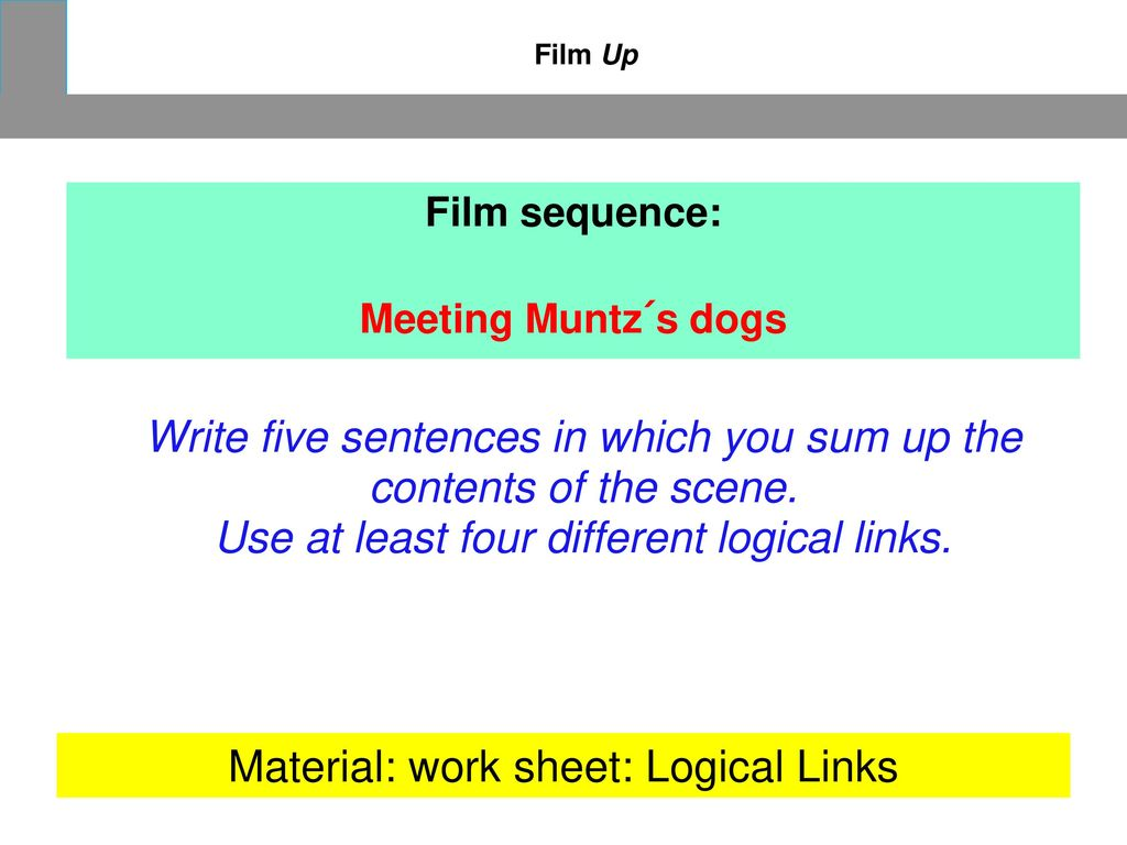 Write five sentences in which you sum up the contents of the scene.