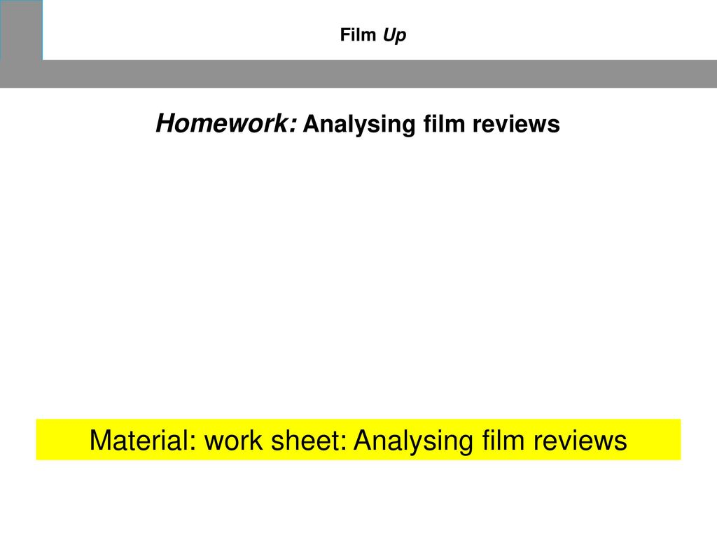 Material: work sheet: Analysing film reviews