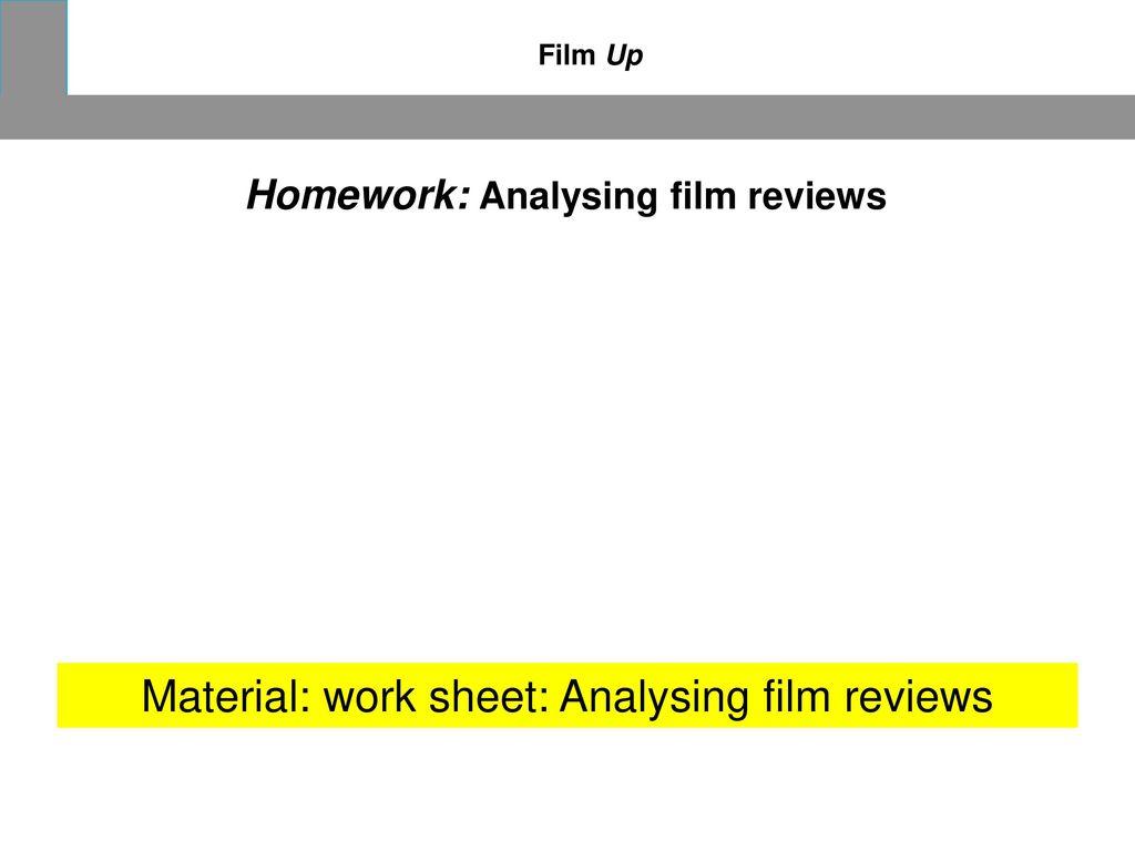 Material: work sheet: Analysing film reviews