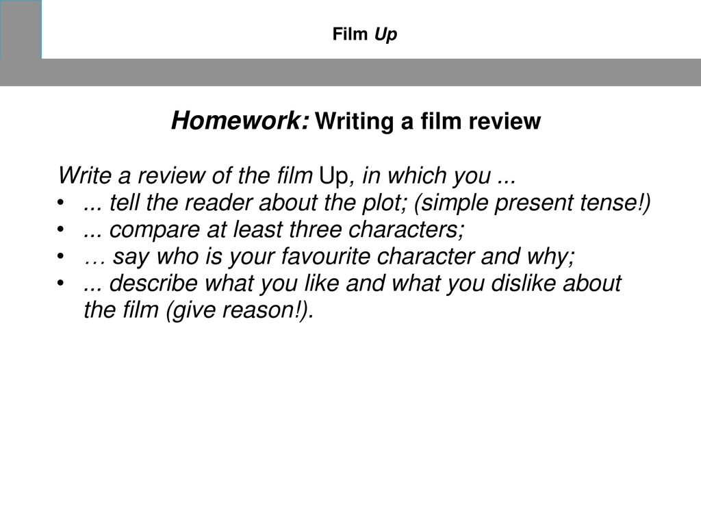 Homework: Writing a film review