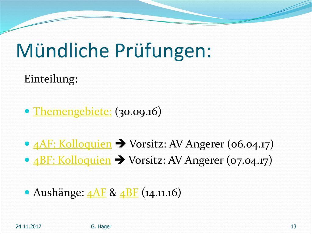 Mündliche Prüfungen: Einteilung: Themengebiete: (30.09.16)