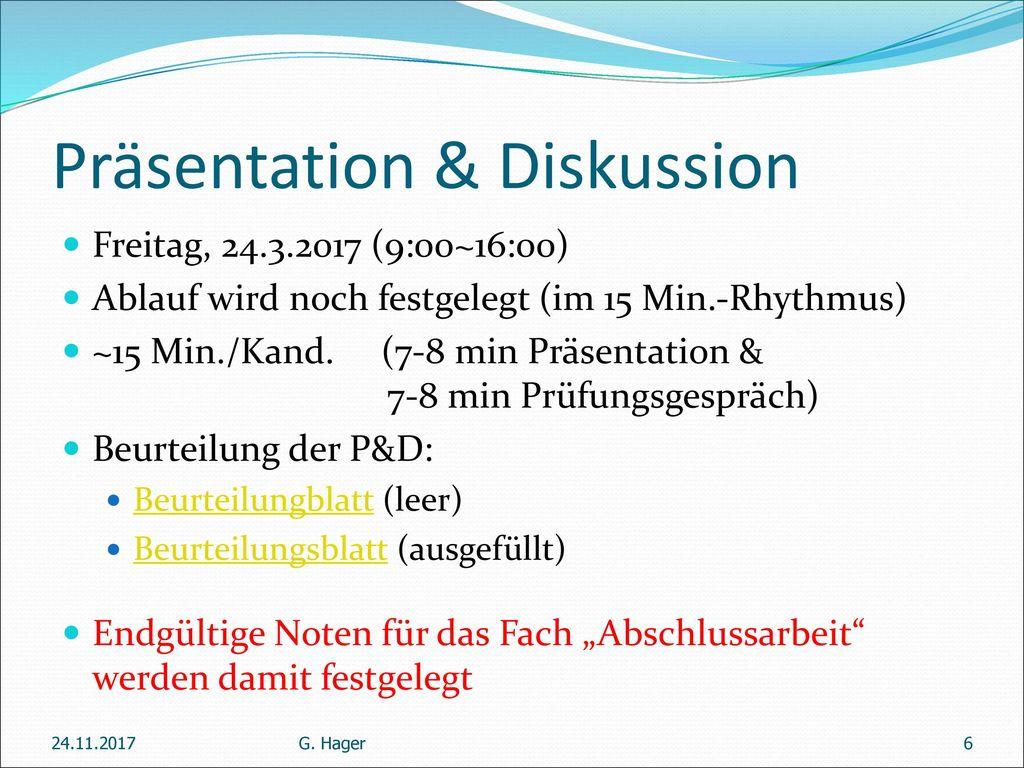 Präsentation & Diskussion