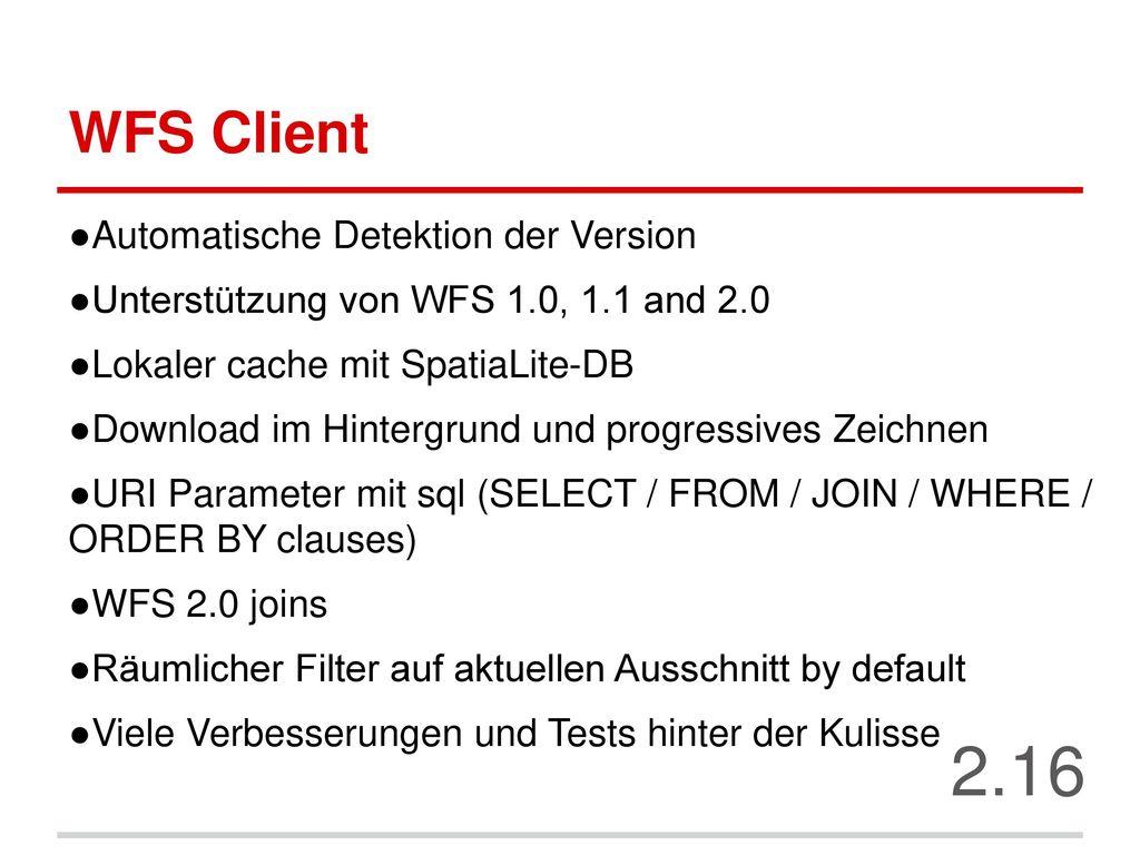 2.16 WFS Client Automatische Detektion der Version