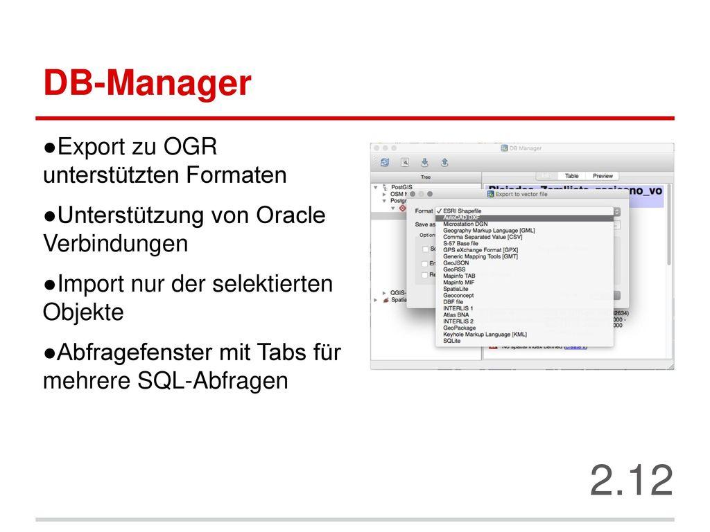 2.12 DB-Manager Export zu OGR unterstützten Formaten
