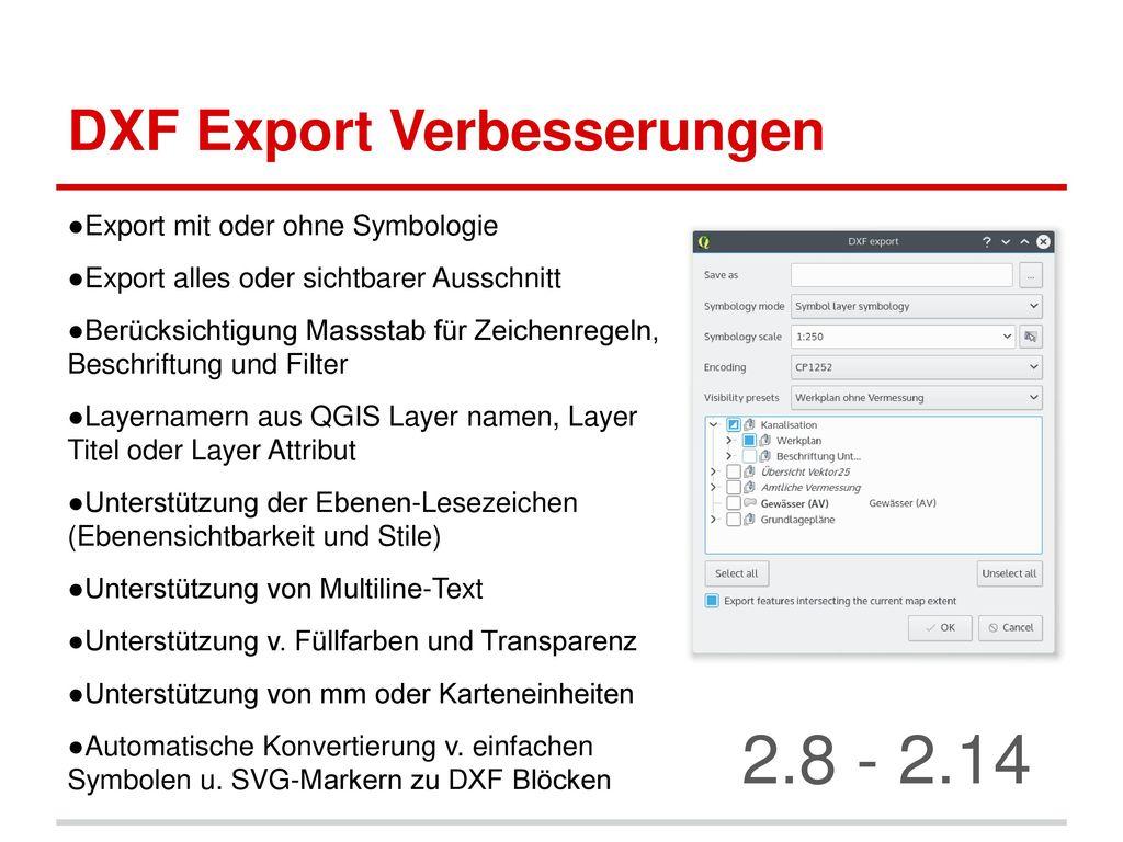 DXF Export Verbesserungen