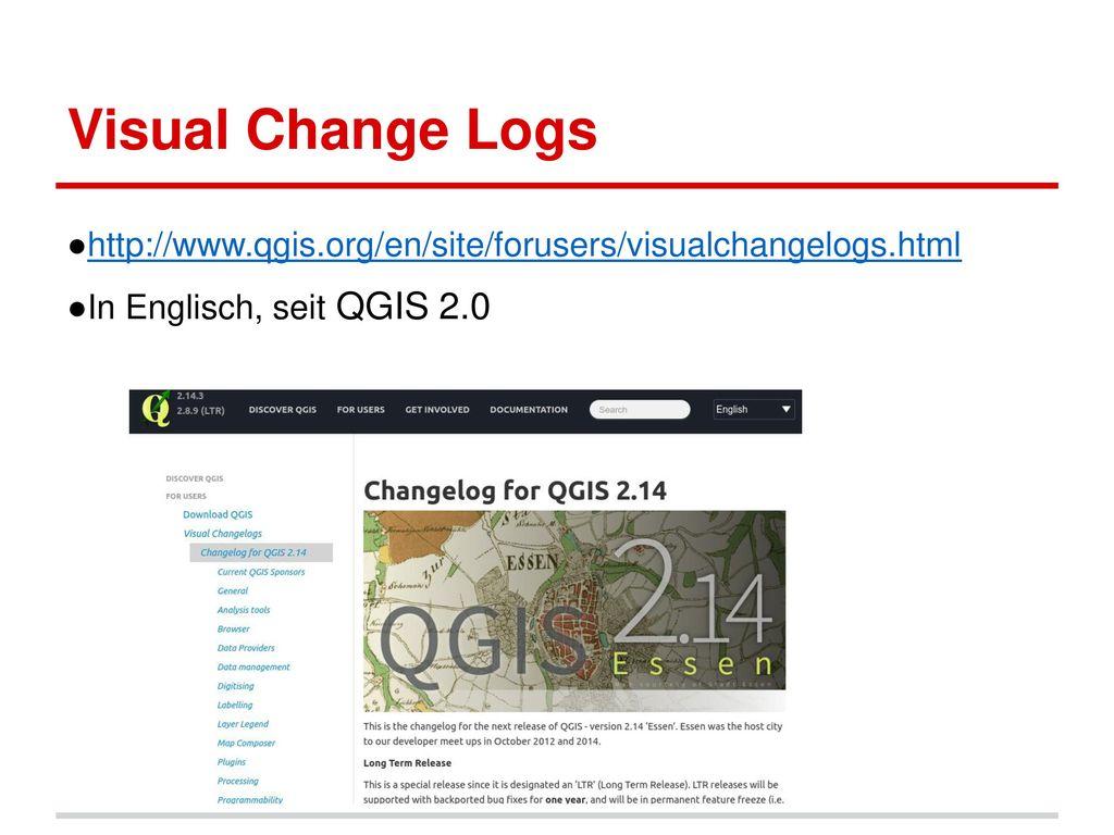 Visual Change Logs http://www.qgis.org/en/site/forusers/visualchangelogs.html.