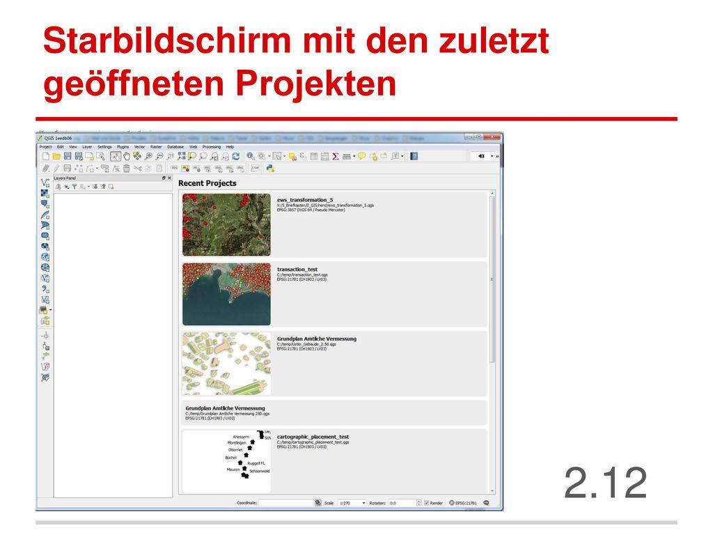 Starbildschirm mit den zuletzt geöffneten Projekten