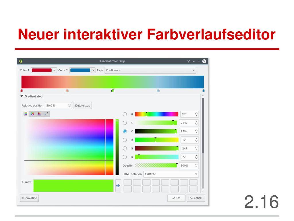 Neuer interaktiver Farbverlaufseditor